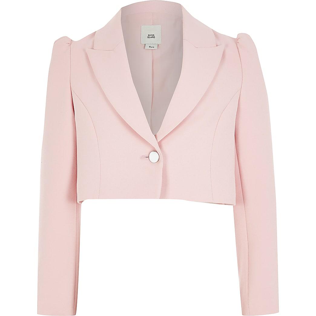 Girls pink puff sleeve cropped blazer