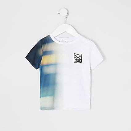Mini boys white 'Worldwide' tie dye T-shirt