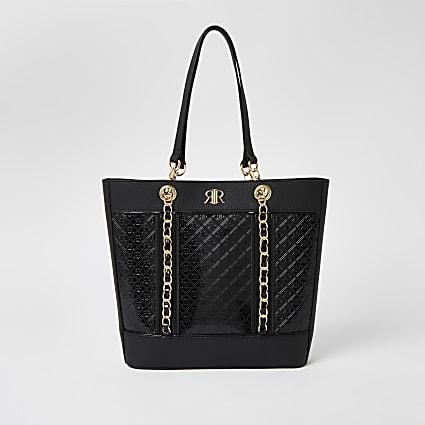 Black patent RI monogram shopper bag
