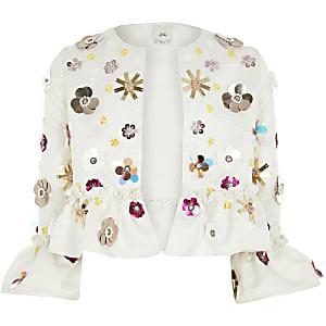 Girls white embellished peplum jacket