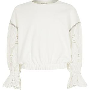 Cremefarbenes Sweatshirt mit langem, bestickten Ärmel für Mädchen