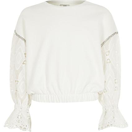 Girls cream long broderie sleeve sweatshirt