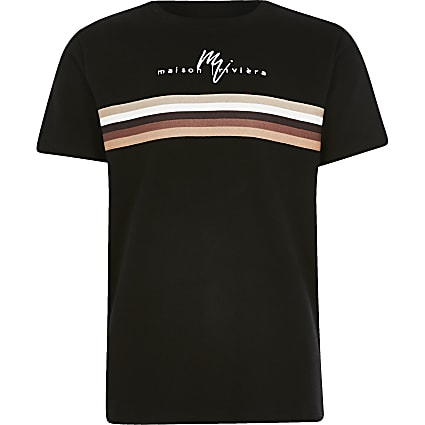 Boys black Maison Riviera stripe T-shirt