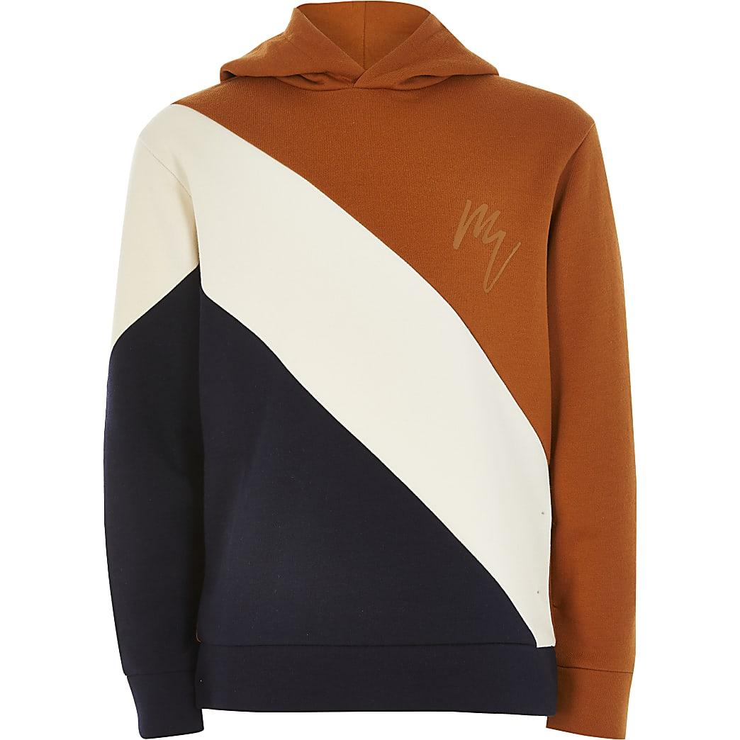 Boys stone colour blocked hoodie