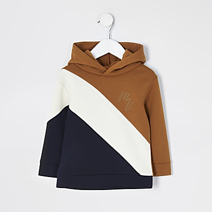 Mini boys stone colour blocked hoodie
