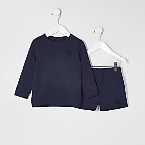 Mini - Marineblauwe sweater outfit met RVR-print voor jongens