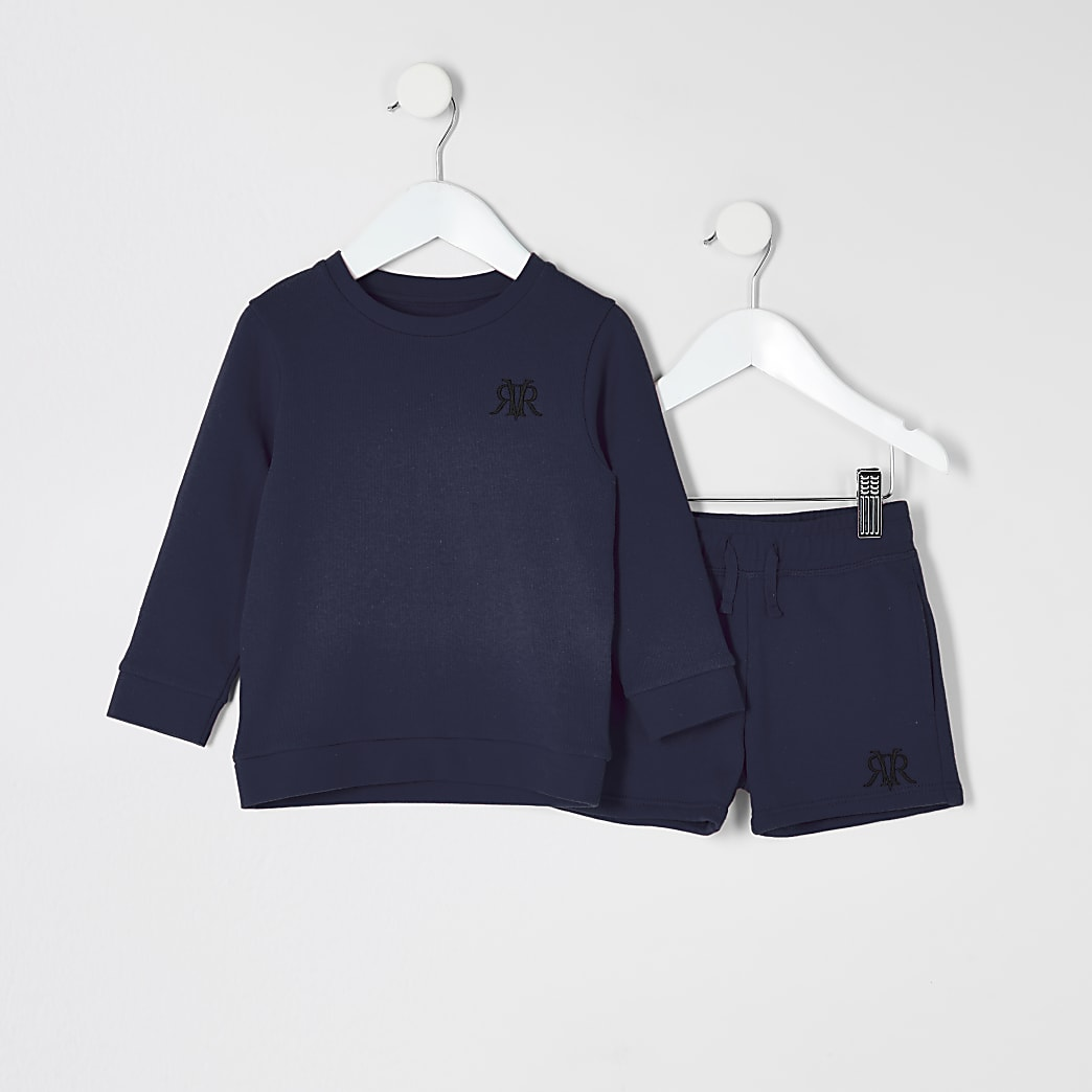 Mini boys navy RVR sweatshirt outfit