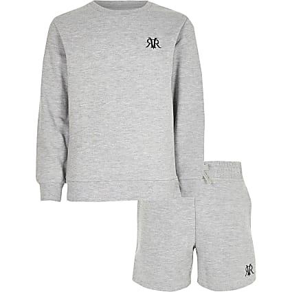 Boys grey marl RVR sweatshirt outfit