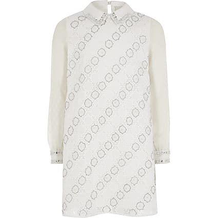 Girls white embellished shift dress