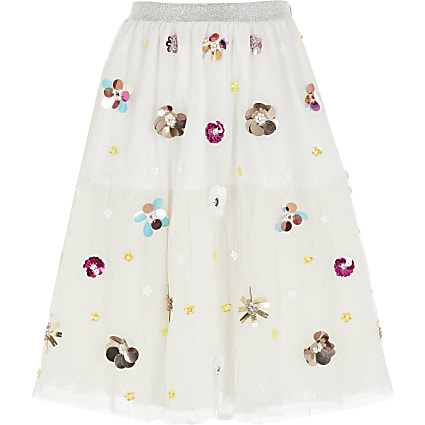 Girls white embellished mesh midi skirt