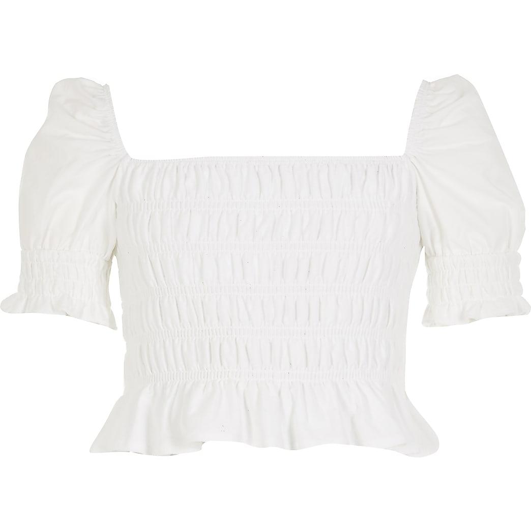 Girls white shirred body puff sleeve top