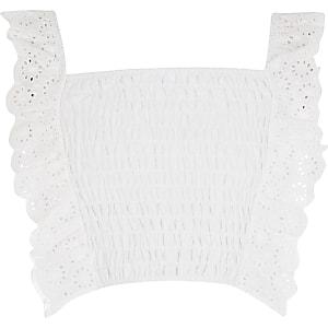 Witte crop top van gestroopte stof met broderie franje voor meisjes
