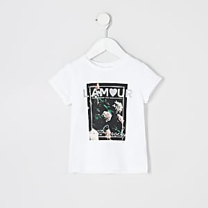 """Mini – Weißes T-Shirt """"L'amour"""" mit Blumenmuster für Mädchen"""