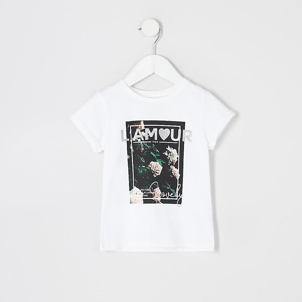 Mini - Wit T-shirt met bloemenprint en 'L'amour'-print voor meisjes