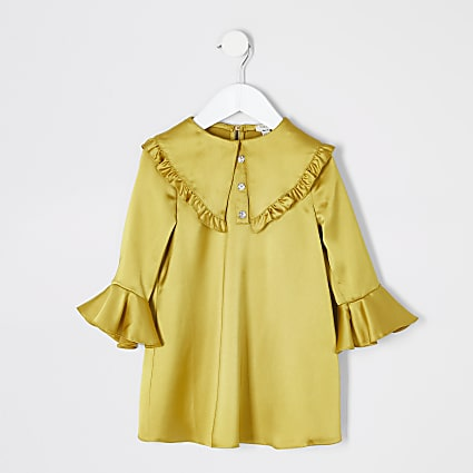 Mini girls yellow satin frill collar dress
