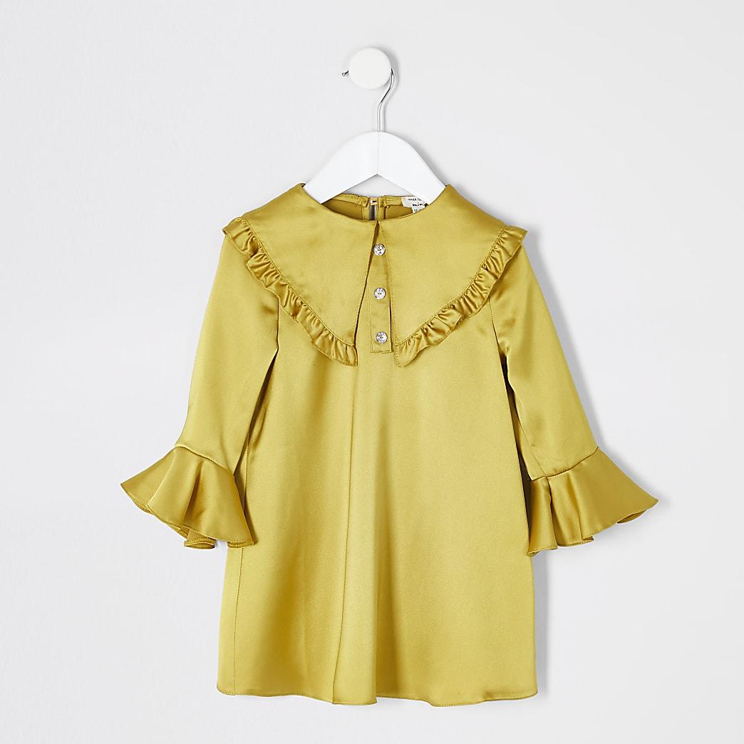 Mini girls yellow satin frill collar dress