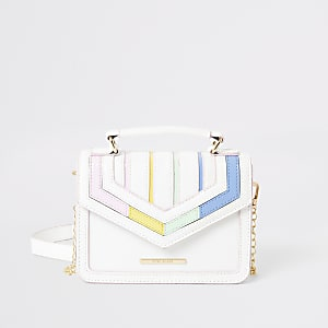 Girls white rainbow stripe satchel bag