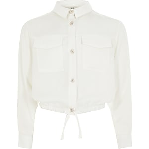 Wit overhemd met aangelijnde taille en lange mouwen voor meisjes