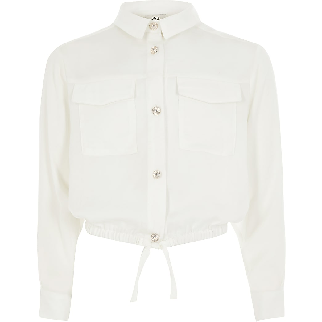 Girls white long sleeve cinched waist shirt
