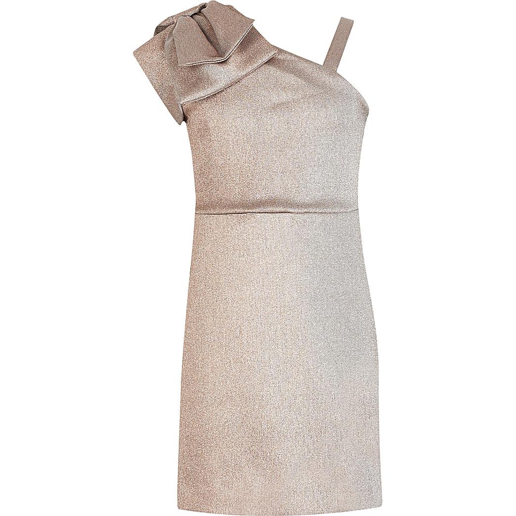 Girls rose gold one bow shoulder dress