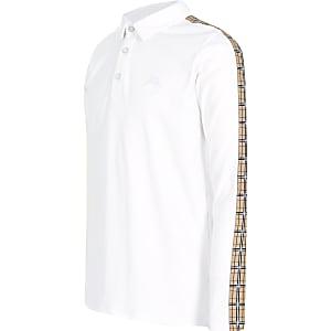 Weißes Poloshirt mit kariertem Tape für Jungen