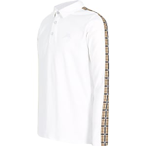 Polo blanc avec bande à carreaux pour garçon