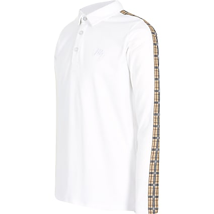 Boys white check tape polo shirt