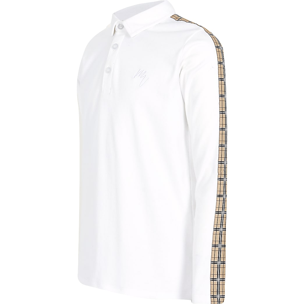 Boys white check tape polo shirt