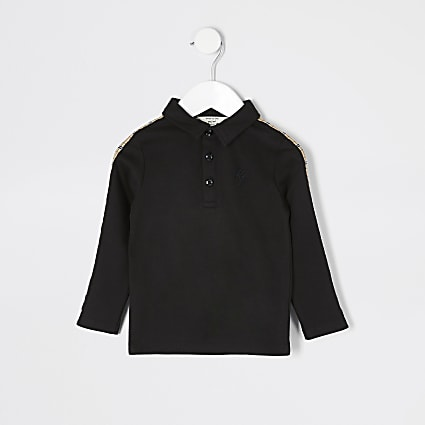 Mini boys black check tape polo shirt