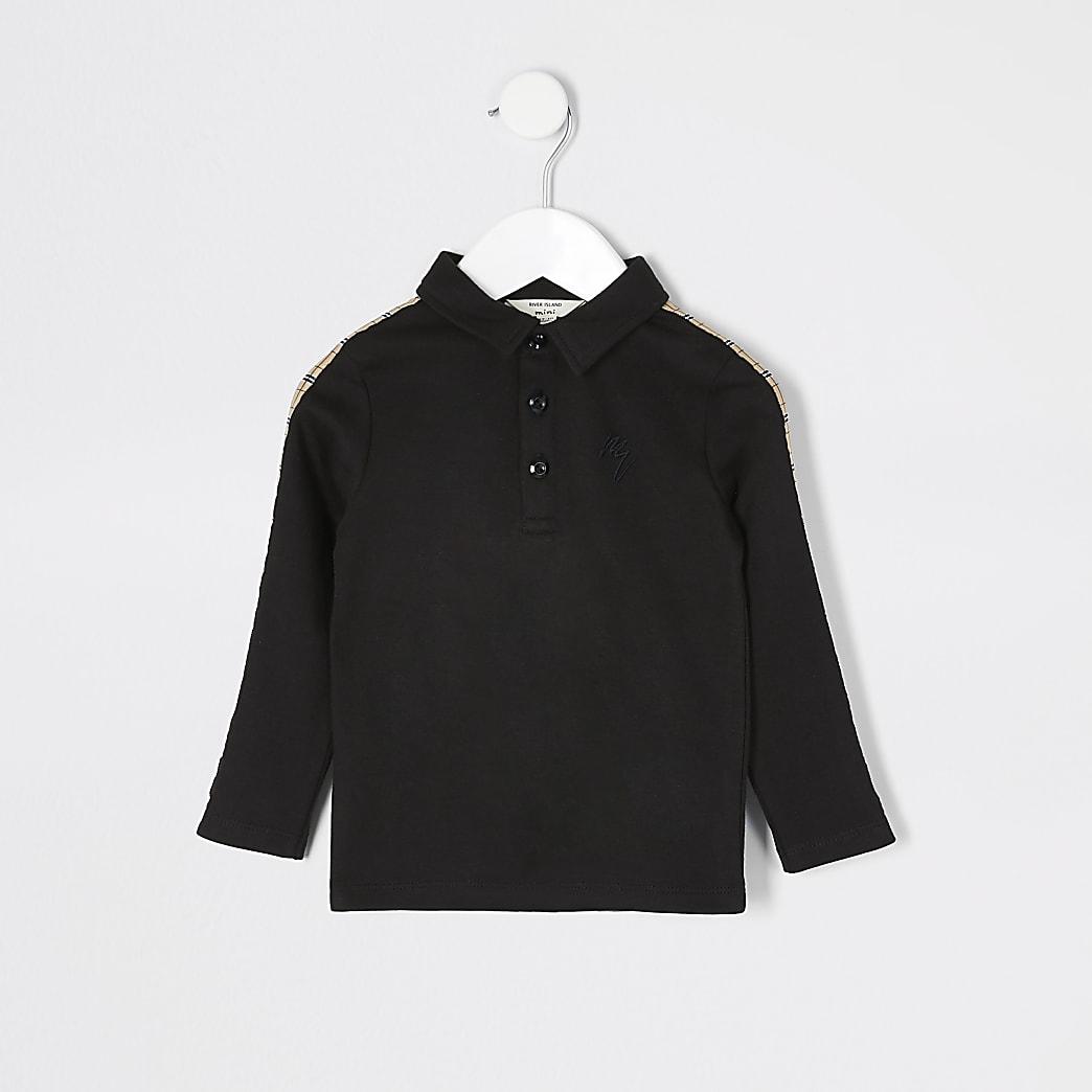 Mini boys black check tape polo shirt