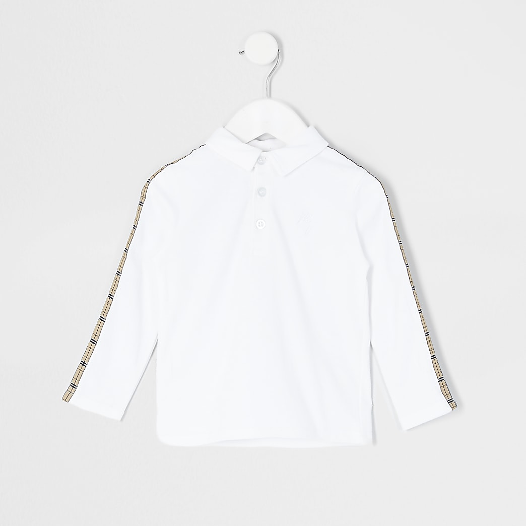 Mini boys white check tape polo shirt