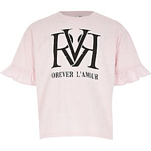 T-shirt rose RVRà strass et volants pour fille