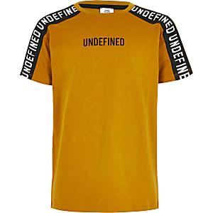 Geel T-shirt met bies en 'Undefined'-print voor jongens