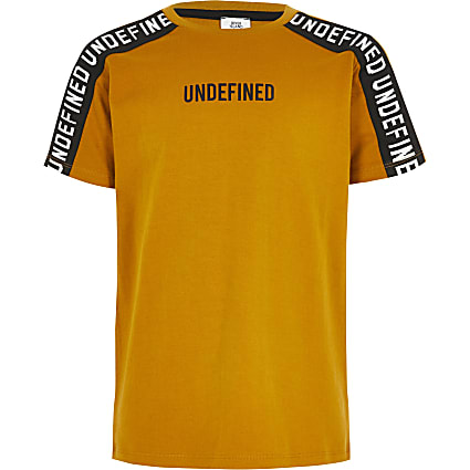 Boys yellow 'Undefined' tape T-shirt