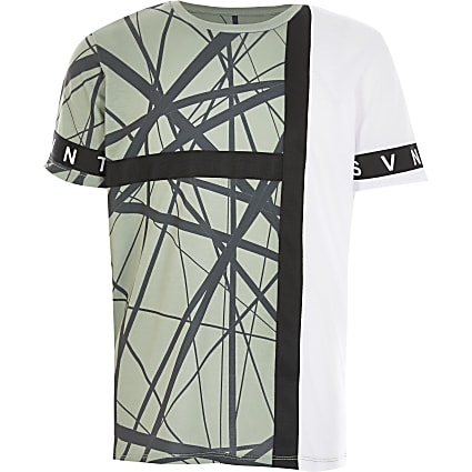 Boys khaki Svnth printed T-shirt