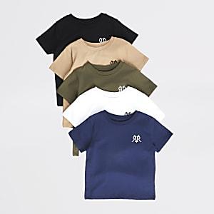 Mini - Set van 5 meerkleurige T-shirts met RVR-print voor jongens