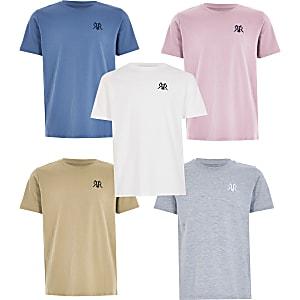 Set van 5 meerkleurige T-shirts met RVR-print voor jongens
