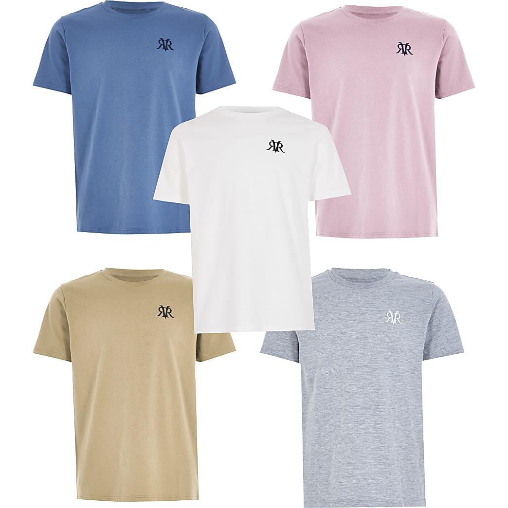 Boys mixed colour RVR T-shirt 5 pack