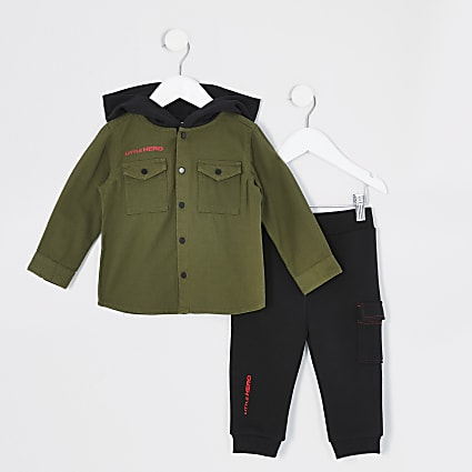 Mini boys khaki hooded shacket outfit