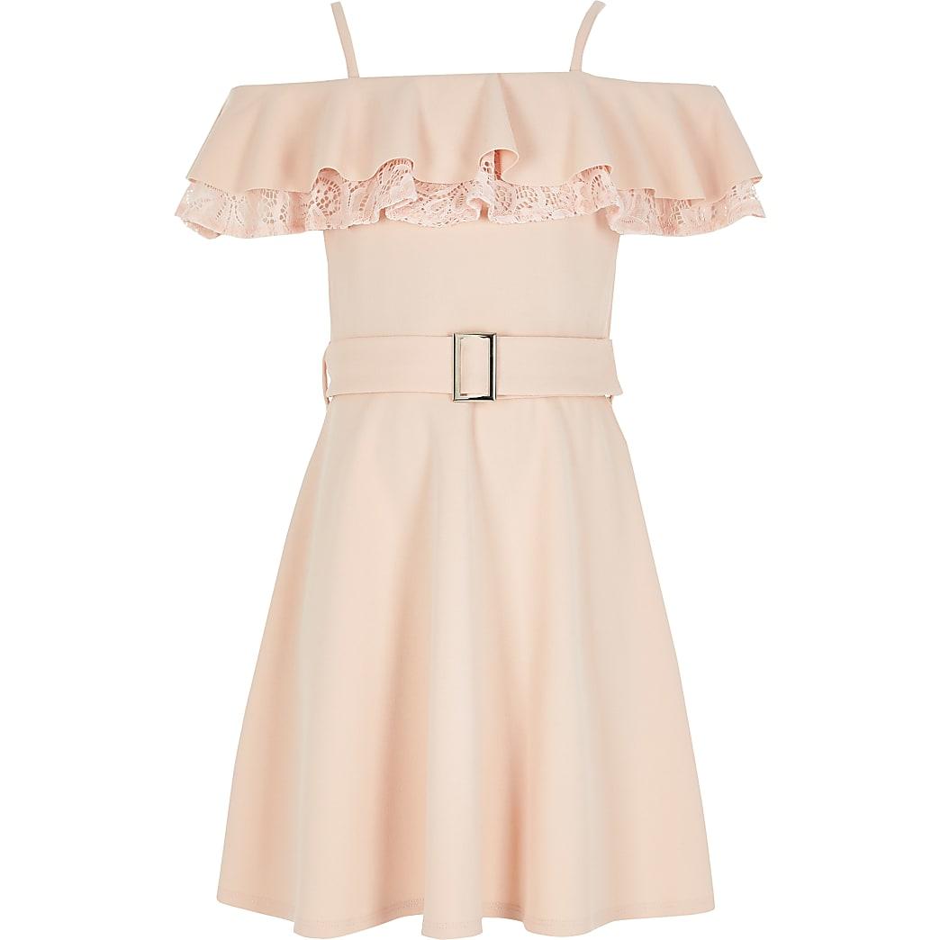 Girls pink lace frill bardot skater dress