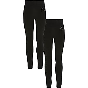 Schwarze RI-Leggings mit umstülpbarem Bund für Mädchen im 2er-Pack