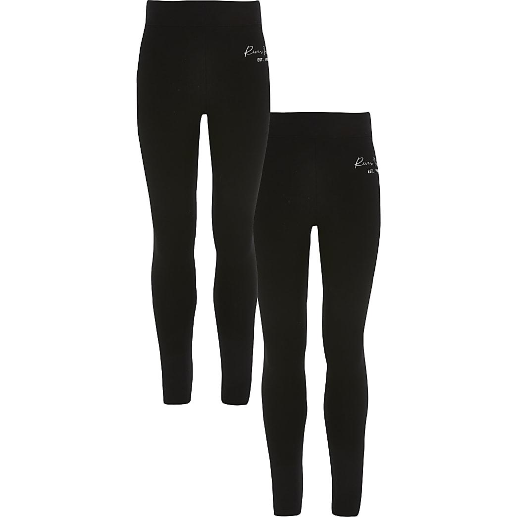 Girls black  RI fold over leggings 2 pack