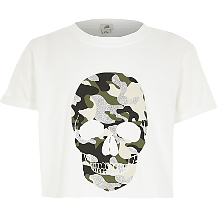 Girls white skull camo printed cropped top