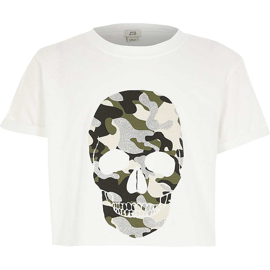 Witte camouflage cropped top met doodshoofdprint voor meisjes