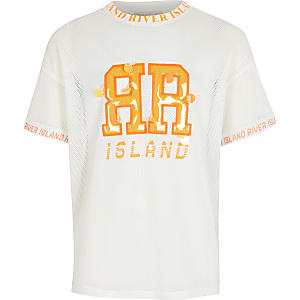 RI Active – Weißes T-Shirt mit Mesh-Einsatz