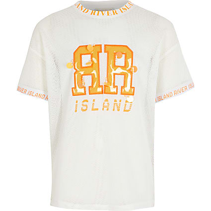 Girls RI Active white mesh T-shirt