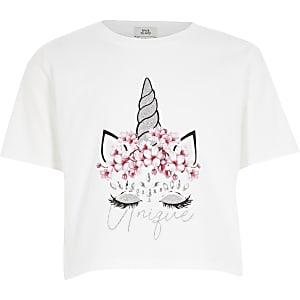 Weißes T-Shirt mit Einhornverzierung für Mädchen