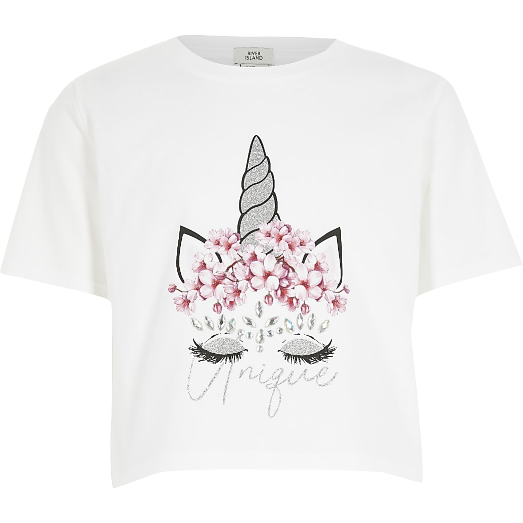 Girls white unicorn embellished T-shirt