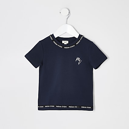 Mini boys navy Maison Riviera tape T-shirt