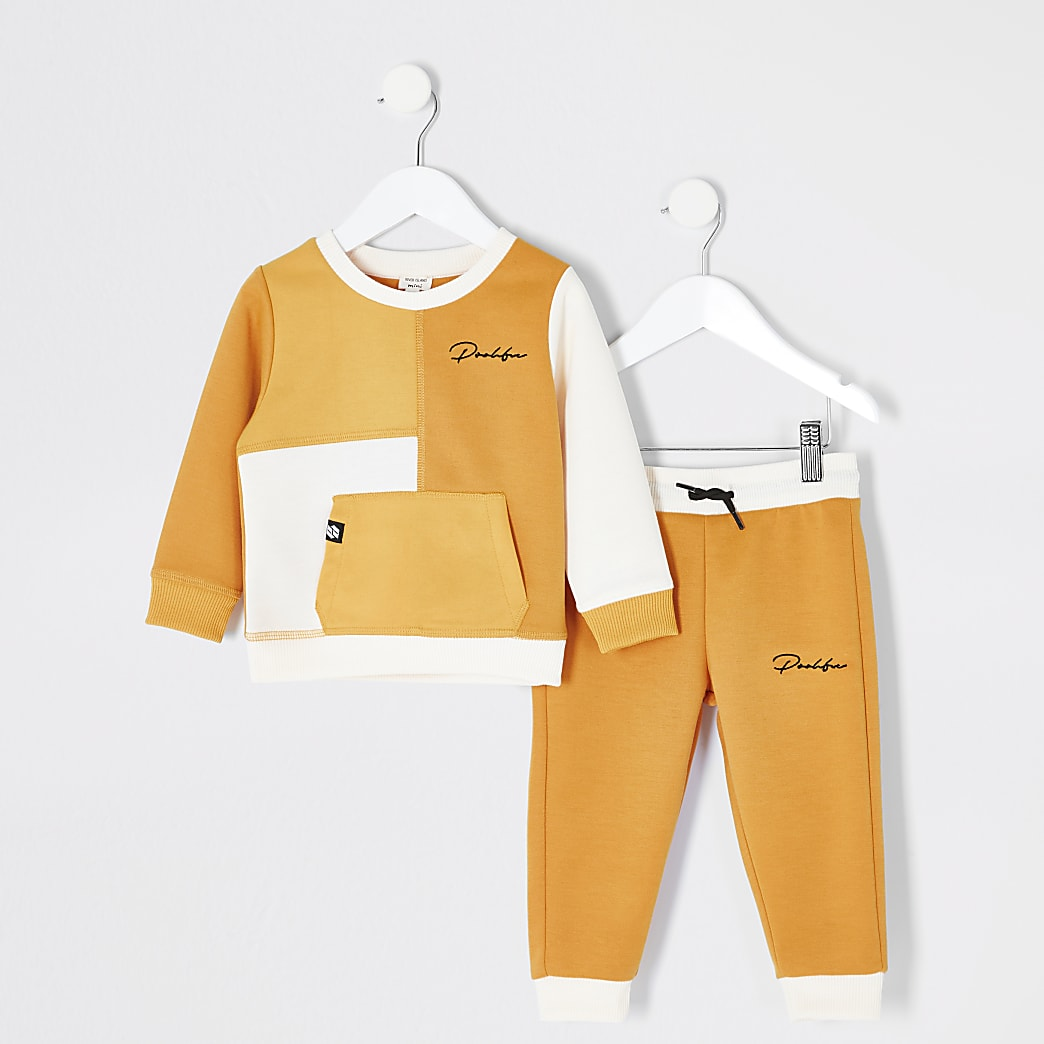 Mini boys yellow Prolific sweatshirt outfit